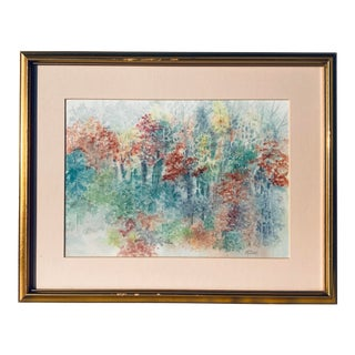 Trees in Autumn Watercolor Painting For Sale