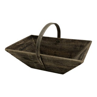 Rustic French Country Garden Trug Tote For Sale
