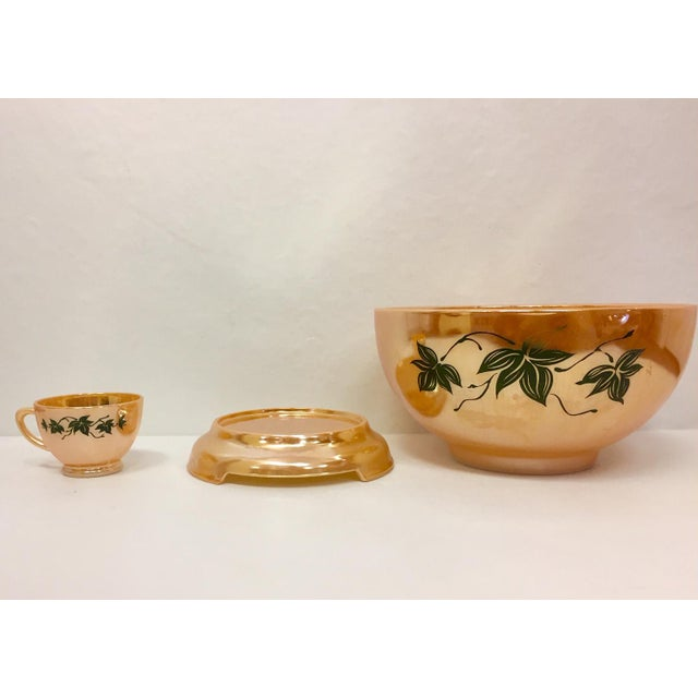 1960s Anchor Glass Peach Luster Nostalgia Punch Serving - Set of 12 For Sale - Image 9 of 11