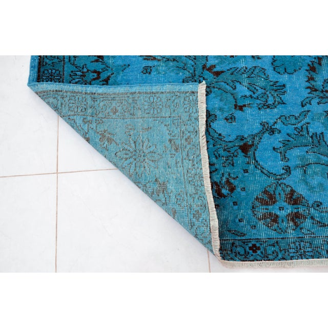 """Cyan Blue Overdyed Turkish Hand Knotted Rug - 6'5"""" X 10' For Sale - Image 9 of 10"""