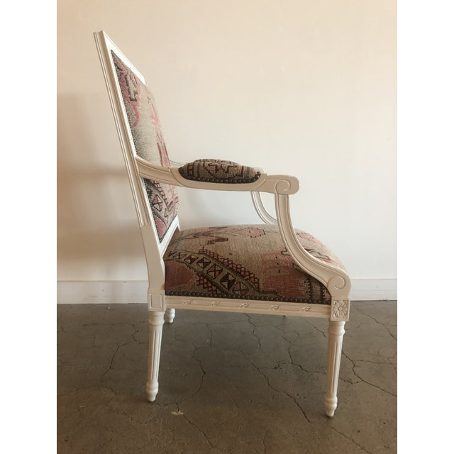 Vintage Italian chair newly upholstered in an antique Caucasian rug, circa early 1900's,