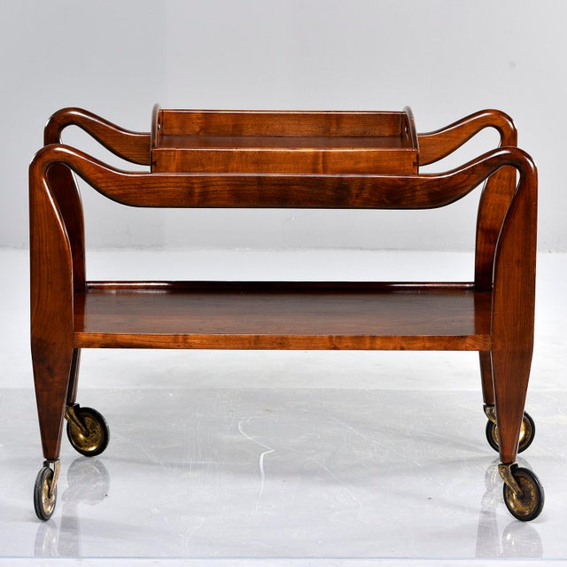 Mid-Century Italian Walnut Trolley With Removable Tray For Sale - Image 13 of 13