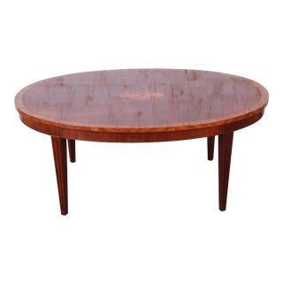 Baker Furniture Oval Inlaid Mahogany and Satinwood Marquetry Cocktail Table For Sale