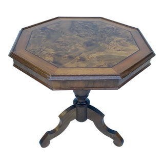 Italian Octagonal Burl Wood Side Table For Sale