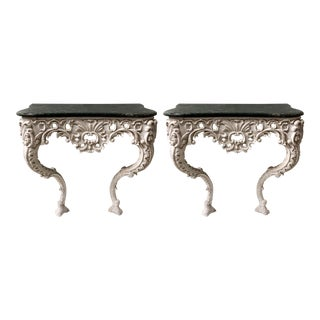 Pair of Carved French Console Tables For Sale