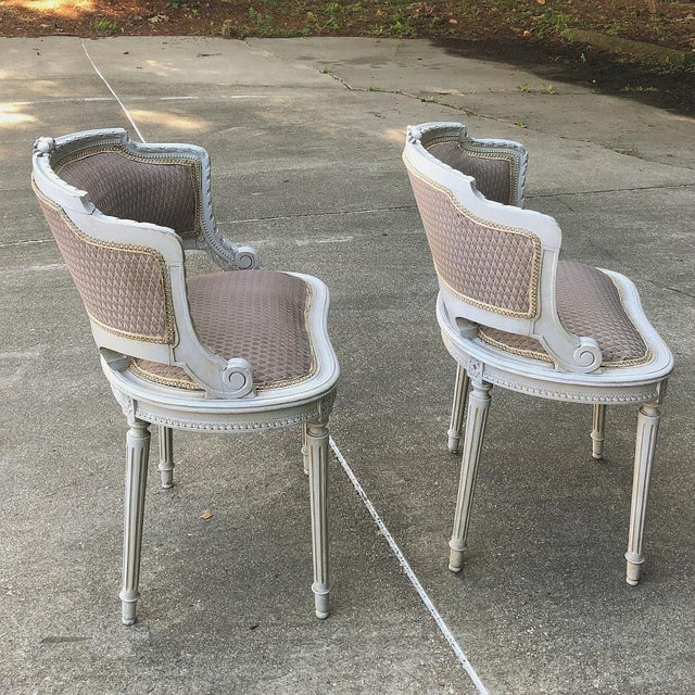 French Antique French Louis XVI Painted Armchairs - a Pair For Sale - Image 3 of 10