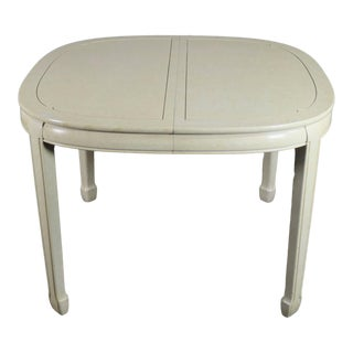 White Fine Furniture Asian Ming Chinoiserie Style Off White Lacquer Oval Dining Table For Sale