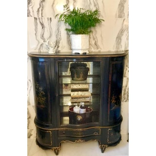 1920s Vintage French Chinoiserie Mirrored Mesh Front Cabinet Preview
