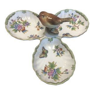1960s Herend China Three Part Serving Tray With Bird Finial For Sale