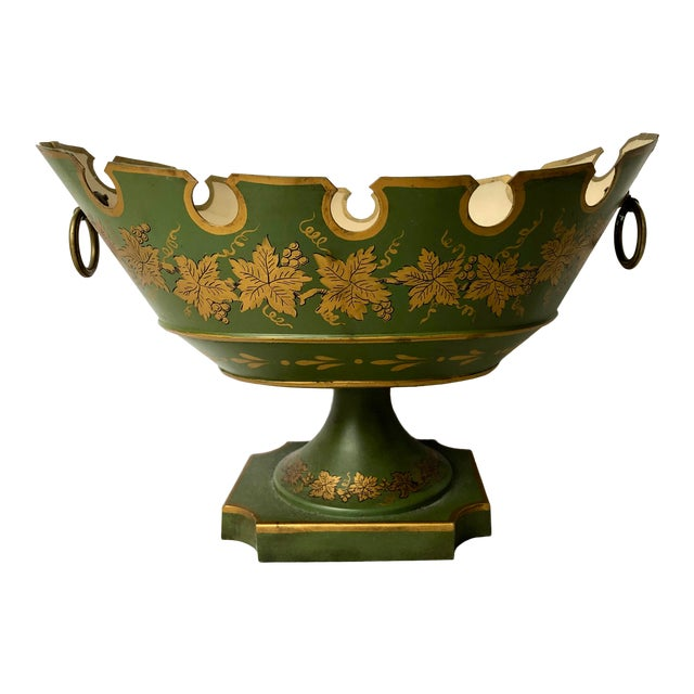 French Green & Gold Tole Neoclassical Footed Monteith/Rafraichissoire/Chillers, Hp For Sale