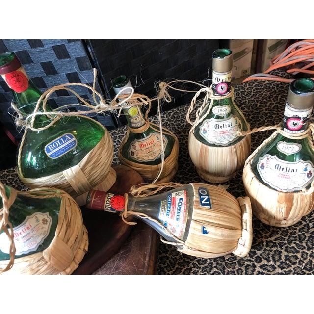Mid 20th Century Vintage Italian Demijohn Wine Bottles - Set of 8 For Sale - Image 5 of 13