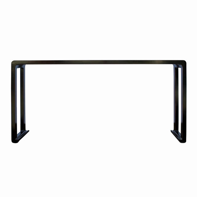 Oriental Distressed Long Semi - Gloss Black Scroll Altar Console Table For Sale In San Francisco - Image 6 of 6