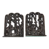 Image of Chinese Chinoiserie Style Metal Bookends - a Pair For Sale