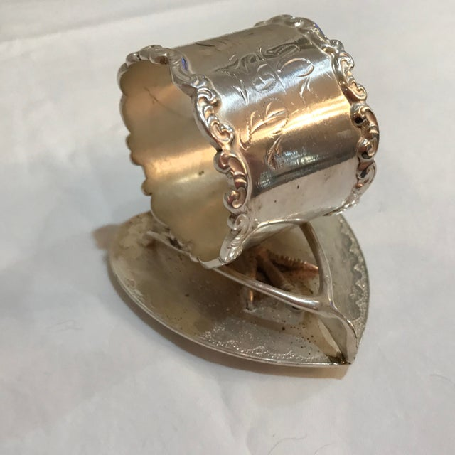 Meriden Silver Plate Co. Victorian Figural Silver Plate Napkin Ring For Sale - Image 4 of 7