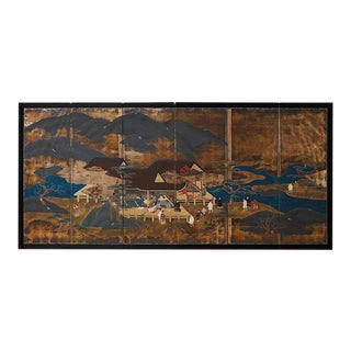 Japanese Six Panel Edo Period Style Tosa School Screen For Sale