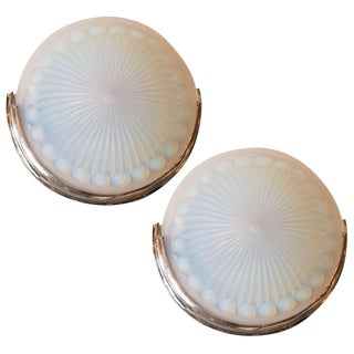Pair of French Art Deco Chrome & Opalescent Glass Sconces with Sunburst Pattern For Sale
