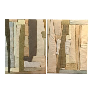 Organic Abstract 70's Textile Wall Art Panels, a Pair