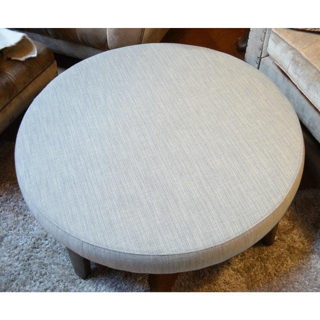 Pleasant Vintage Modern Round Gray Tweed Fabric Ottoman Beatyapartments Chair Design Images Beatyapartmentscom