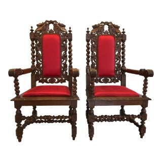 Late 19th Century Antique Dining Arm Chairs - A Pair For Sale