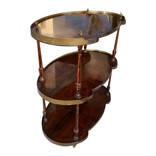 1960's Wood/Brass Three Shelves Barcart For Sale