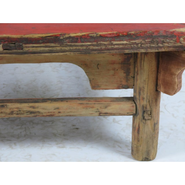 1916 Antique Chinese Low Red Accent Table For Sale - Image 4 of 5