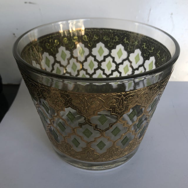 Hollywood Regency 1970s Vintage Culver Valencia Glass Ice Bucket For Sale - Image 3 of 7