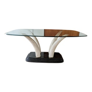 1970s Faux Elephant Tusk Dining Table For Sale