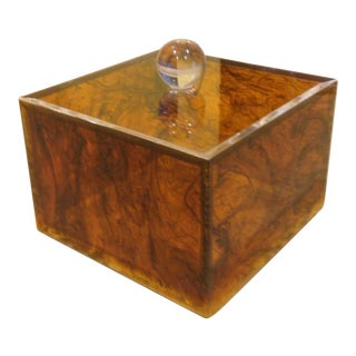 1960s Mid-Century Modern Tortoiseshell Acrylic Decorative Box For Sale