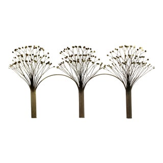 Mid Century Modern Rare Jere Brass 3 Tree Wall Sculpture Signed Dated 1970s For Sale
