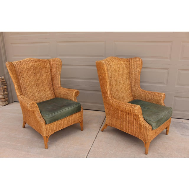 Lexington Furniture 1970s Vintage Henry Link Woven Wicker Wingback Chairs- A Pair For Sale - Image 4 of 13