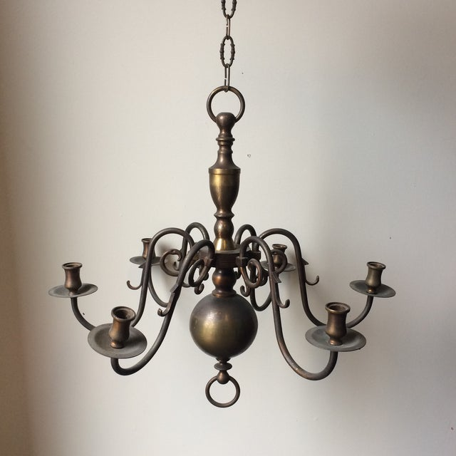 Antique brass chandelier for candlesticks. Beautiful scrolling details.