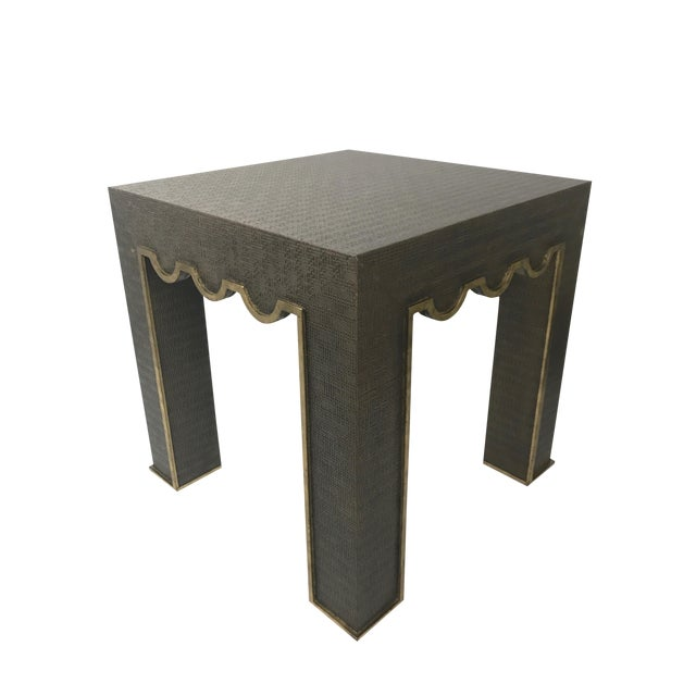Hollywood Regency Chelsea House Raffia Wrapped Accent Table For Sale