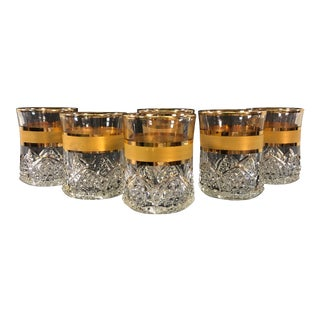 Vintage Glass Gold Banded Tumblers - Set of 6 For Sale