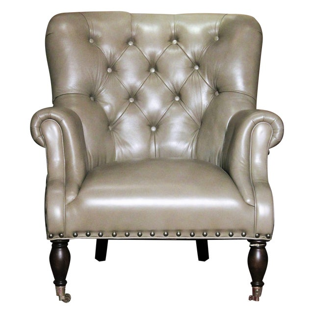 Vanguard Tufted Gray Leather Logan Chair For Sale - Image 5 of 5