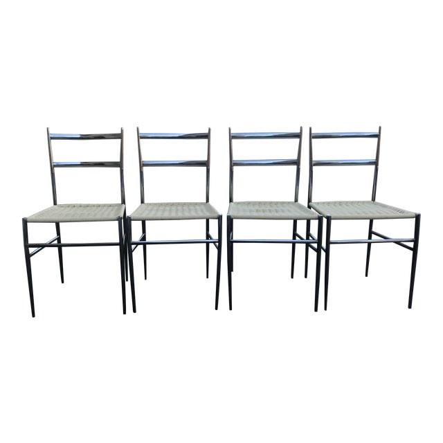 1960s Vintage Gio Ponti Chrome Superleggera Chairs - Set of 4 For Sale