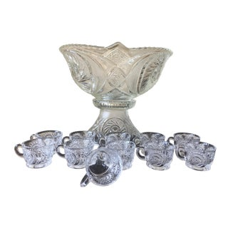Pinwheel Glass Punch Bowl, Stand, and 11 Cups - 13 Pieces For Sale