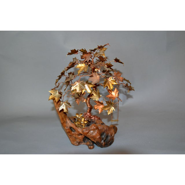Handcrafted Bonsai Tree Brass, Copper, Bronze Sculpture on Burl Wood Base For Sale - Image 13 of 13