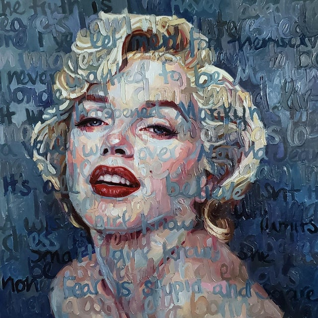 """Marilyn Monroe"" Oil Painting on Canvas by Christina Major For Sale"