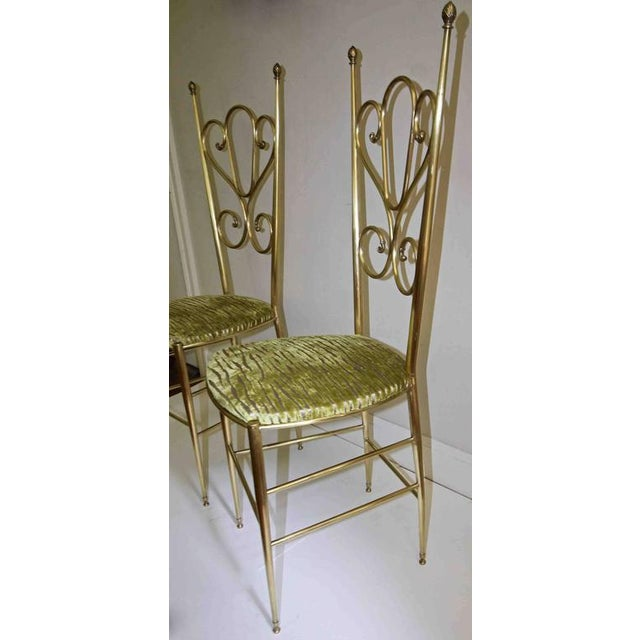1950s Italian all Back Brass Chiavari Side Chairs - a Pair For Sale - Image 4 of 11