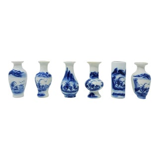 Vintage Collection of Petite Blue and White Handmade and Hand Painted Vases S/6 For Sale