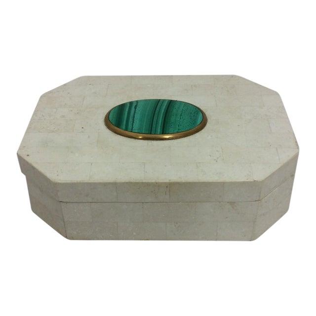 Maitland Smith Tessellated Marble & Malachite Box - Image 1 of 11