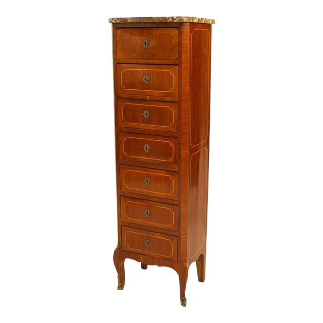 19th C. French Inlaid Walnut and Marble Semanier For Sale