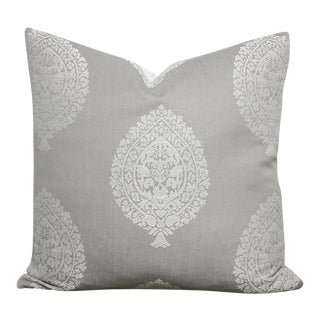 Medallion Damask Gray & White Pillow Cover