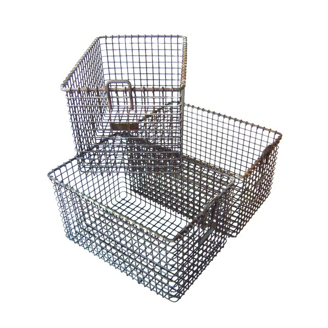 20th Century Americana Metal Gym Baskets - Set of 3 For Sale