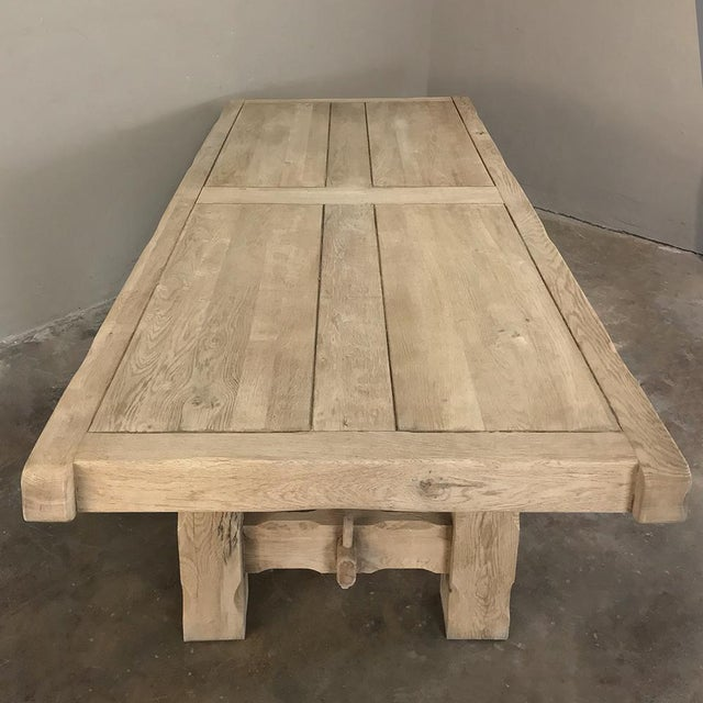 Early 20th Century Antique Grand Rustic Stripped Oak Dining Table For Sale - Image 5 of 11