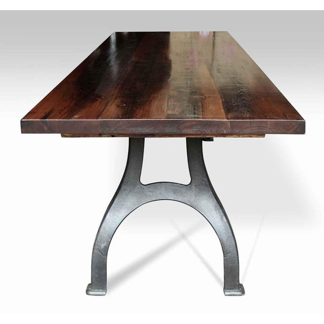Reclaimed Pine Top Farm Table With Curved Industrial Legs Chairish - Marble top farm table