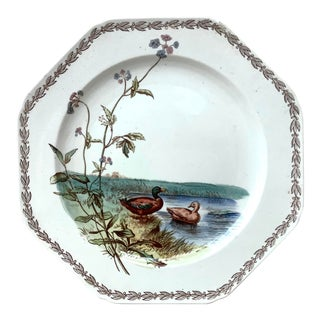 1890 TC Brown Westhead and Moore English Octagonal Ducks on Lake Plate For Sale