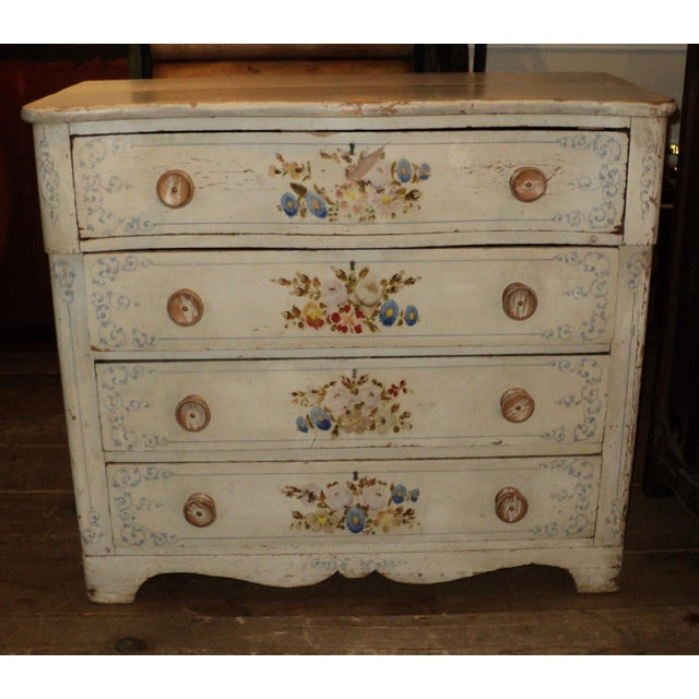 Antique Painted Floral French or Italian Dresser Shabby Chic. Measures
