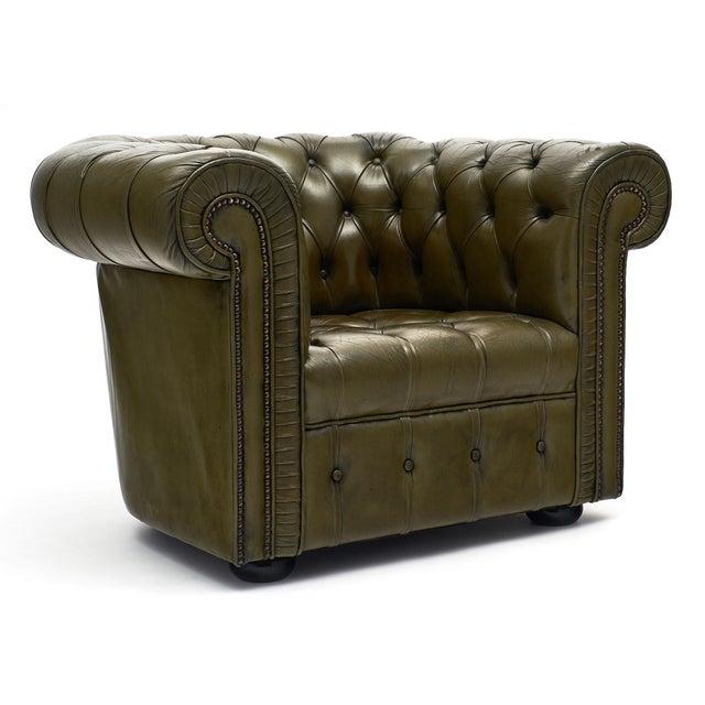 Admirable Vintage Green Leather Chesterfield Club Chairs A Pair Creativecarmelina Interior Chair Design Creativecarmelinacom