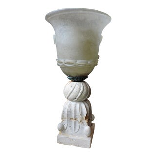 Hurricane Lamp With Travertine Base